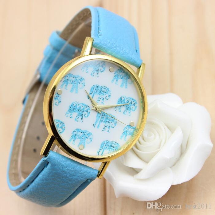 cute small elephant pattern leather watch cute and fresh style soft quartz watch best gift watch