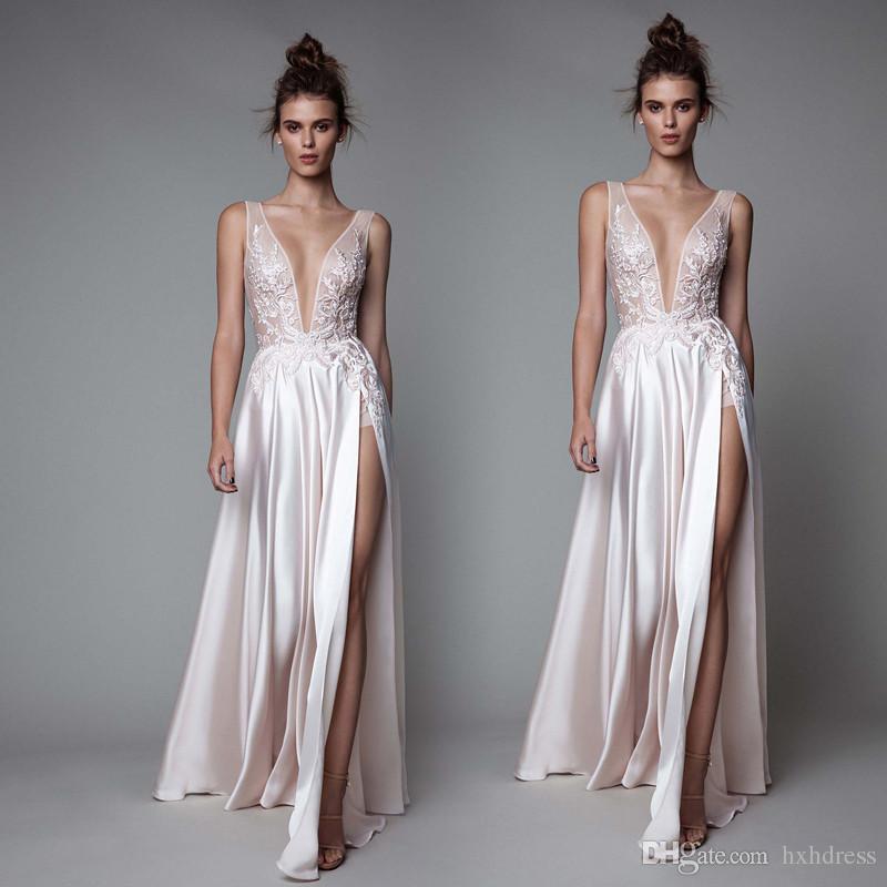 New Berta Abendkleider High Side Split tiefe V-Ausschnitt Abendkleider tragen Backless Fußboden-Satin-formale Partei-Kleid-237