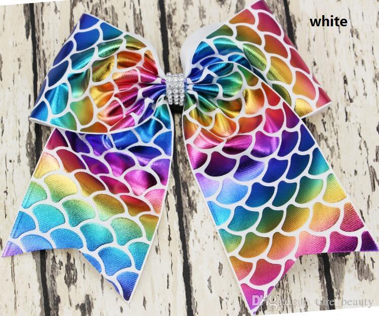 HOT SALE ~a! 8inch girls Rainbow Foil Mermaid Cheer Bow Cheerleading Dance Hair Bow Hair accessories XMAS GIFT HOT SALE /
