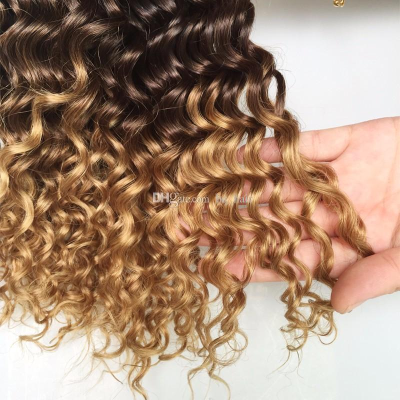 Erstklassiges 9A indisches Honig-blondes Ombre tiefes Wellen-Haar 3 Bundles Ombre Haar-Erweiterungs-brasilianische tiefe Locken 3 Ton-Menschenhaar-Webart