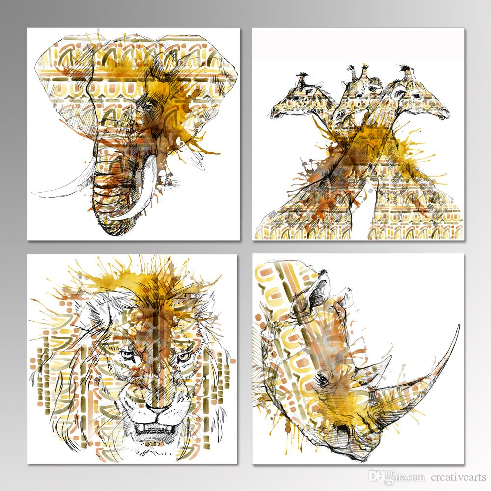 2018 canvas wall art giraffe elephant lion and rhinoceros pencil 2018 canvas wall art giraffe elephant lion and rhinoceros pencil sketch african animal watercolor painting stretched canvas print wall decor from amipublicfo Image collections