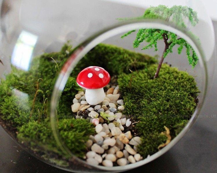 Artificial colorful mini Mushroom fairy garden miniatures gnome moss terrarium decor plastic crafts bonsai home decor for DIY Zakka