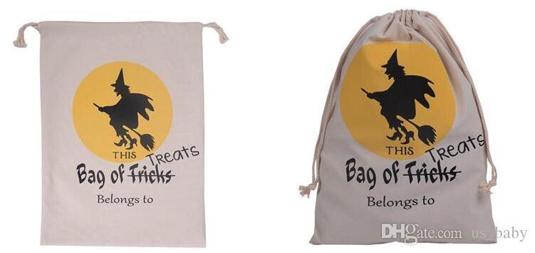 Halloween tela borse bambini borse della spesa in cotone con coulisse Bag con la zucca, diavolo, stampare Hallowmas doni sacco Borse 6styles