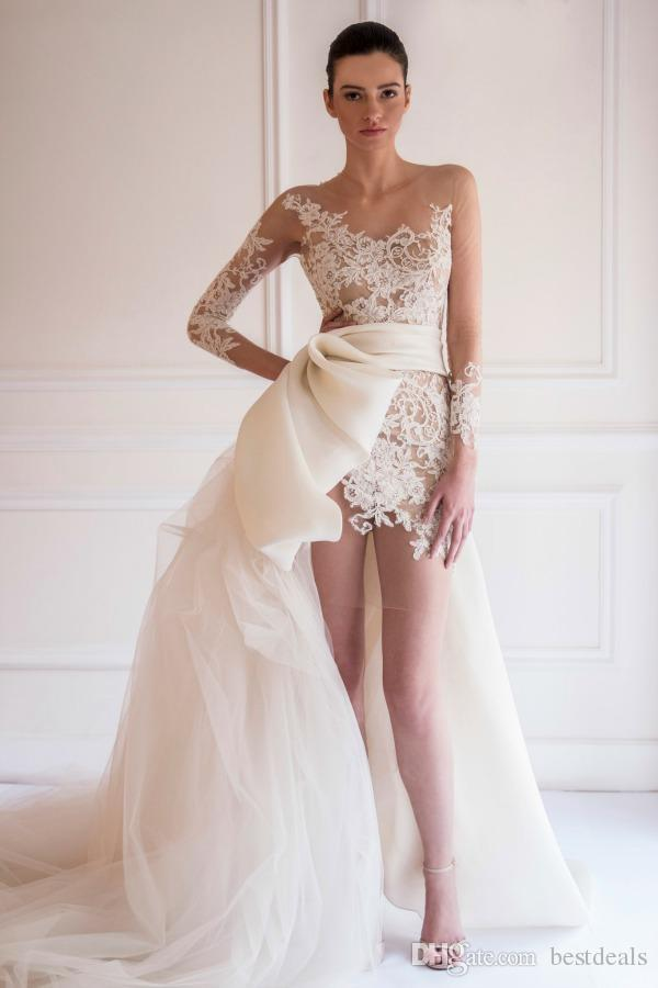 Illusion Lace Sheath Evening Dresses 2019 With Detachable Train Sheer Crew Neck Arabic Short Beach Bohemian Tulle Long Sleeves Prom Gowns