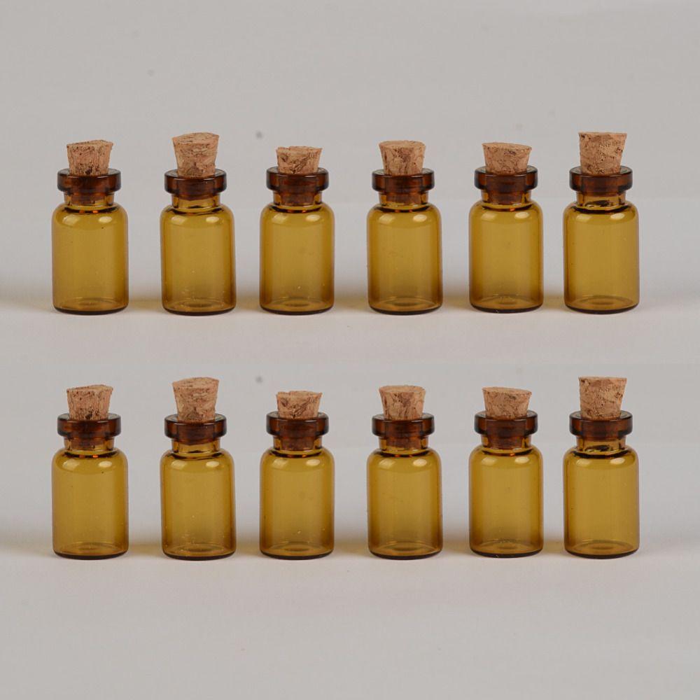 Brown Glass Bottles With Corks DIY 1 ml Empty Decorative Cute Glass Vials Mini Jars