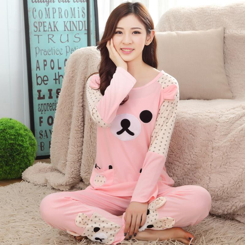 Wholesale- Spring Autumn Cotton Long Sleeved Women Rilakkuma Pajama ... 8e1c72cef99f