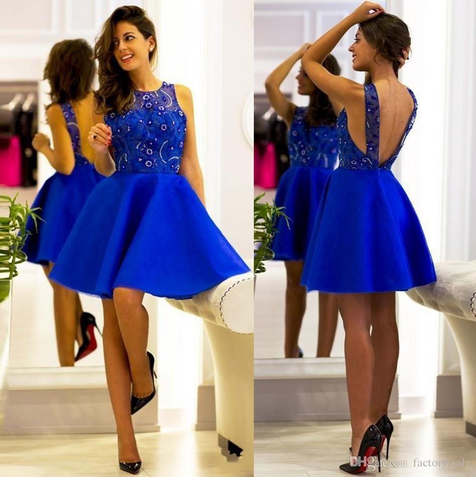 Vestido De Festa Royal Blue Mini Short Cocktail Dresses Saudi Arabic ...