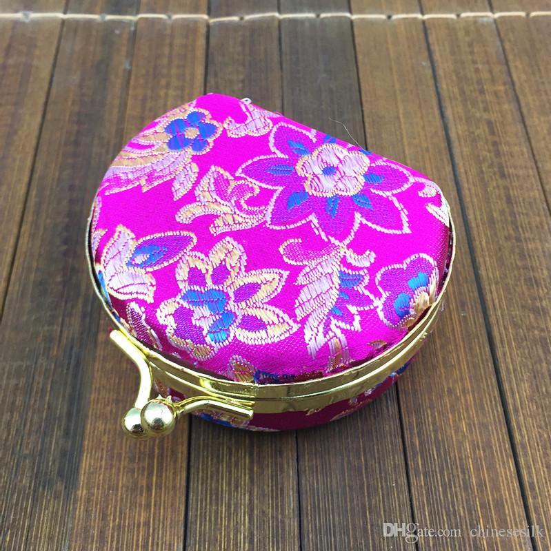 Speglad halvcirkel liten låda för resor smycken uppsättning presentförpackning multi ring halsband lagringsfall silke brokade färgglada metall spänne lådor