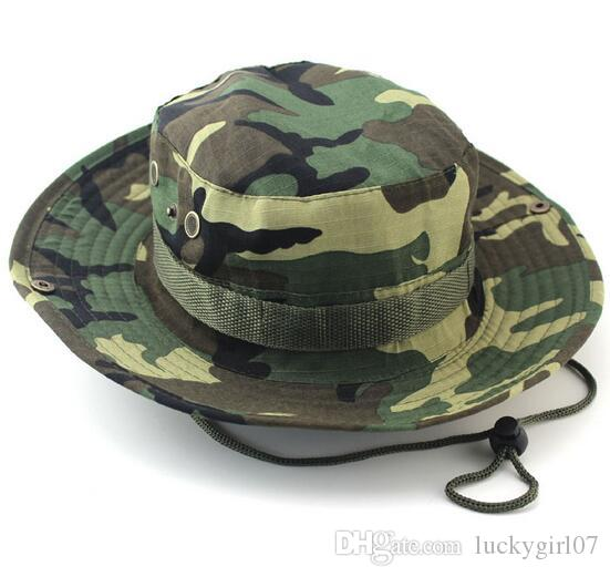 09a8a117073 2016 Fashion Military Camouflage Camo Fisherman Hats With Wide Brim ...