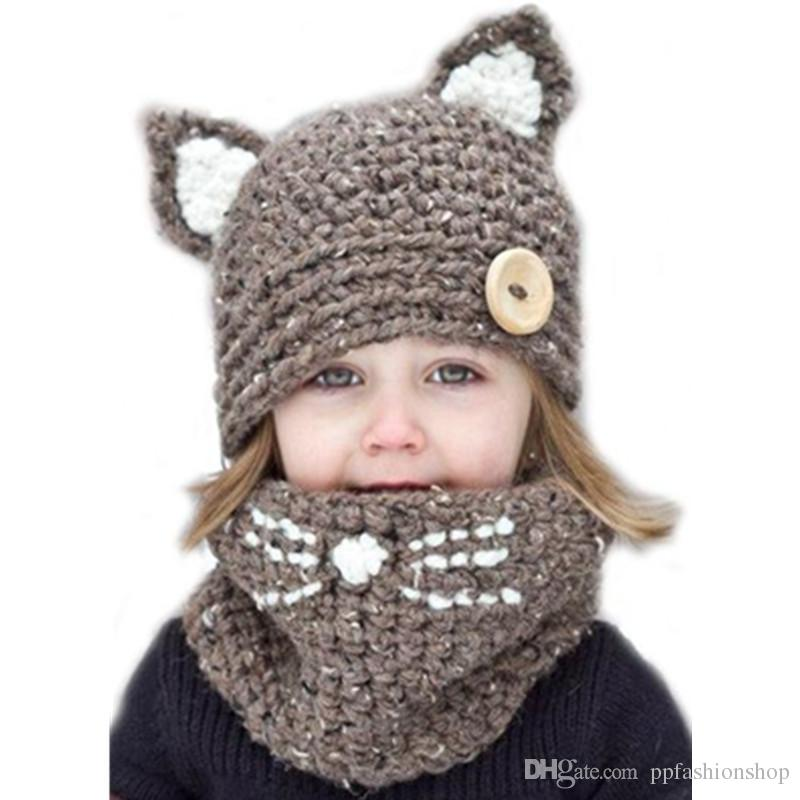2017 quality new fox handmade children's cat wool hat scarf dual-use, children's winter warm knitted hat wholesale