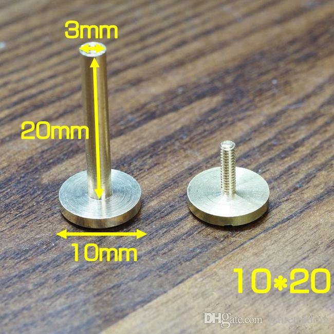 el envío libre 10 pedazos de tornillo sujetador bolsa de la cartera de bronce del remache cinturón de cuero hechos a mano pieza del coche de hardware caso de uñas clave bricolaje