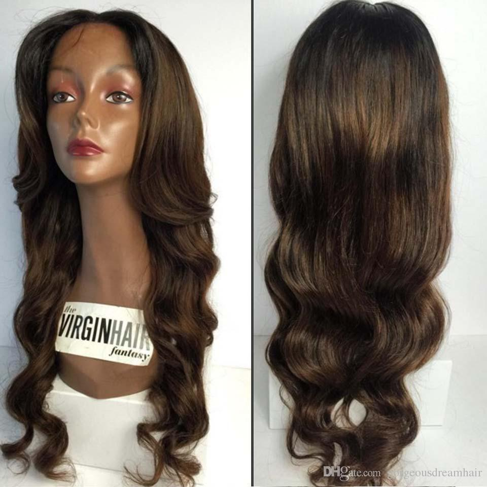 celebrity wigs 1b/brown ombre brown Glueless Full lace wig and Lace frontal wig 10-24inch Wavy human hair wig