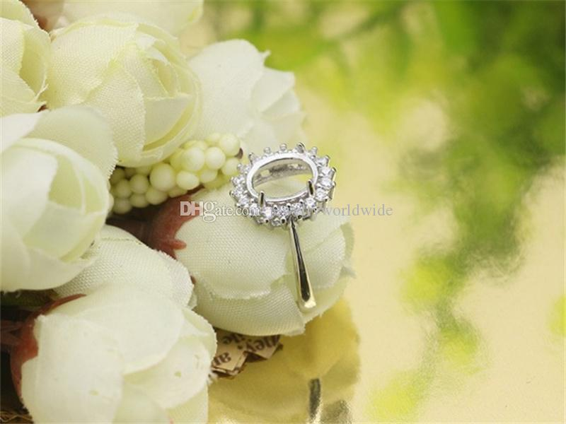 Semi Mount Ring Settings For Oval Stone With Side CZ Blank Base Solid 925 Sterling Silver Women Jewelry Bride Bridesmaid Wedding Gifts
