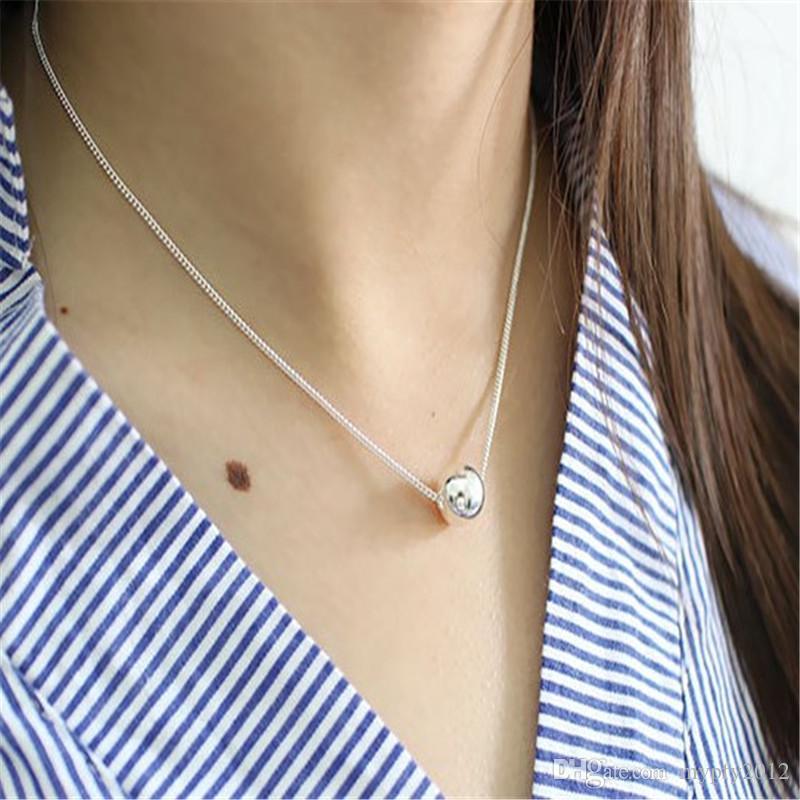Nuevo estilo de moda Real 925 de plata esterlina maciza 10 mm granos redondos del encanto collares pendientes para las mujeres de la escuela