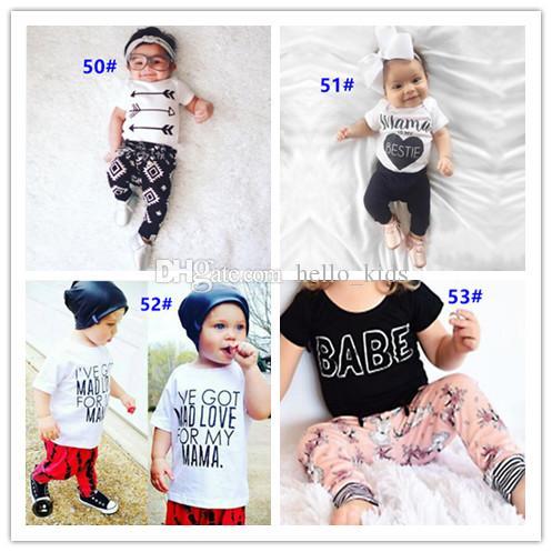 54 Stil Yeni INS Bebek Erkek Kız Mektup Setleri Üst T-shirt + Pantolon Çocuklar Yürüyor bebek Rahat Kısa kollu Takım Elbise Yaz Çocuk Kıyafetler Giysileri