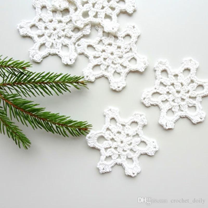 Compre Adornos De Árbol De Navidad, Copos De Nieve De Ganchillo ...