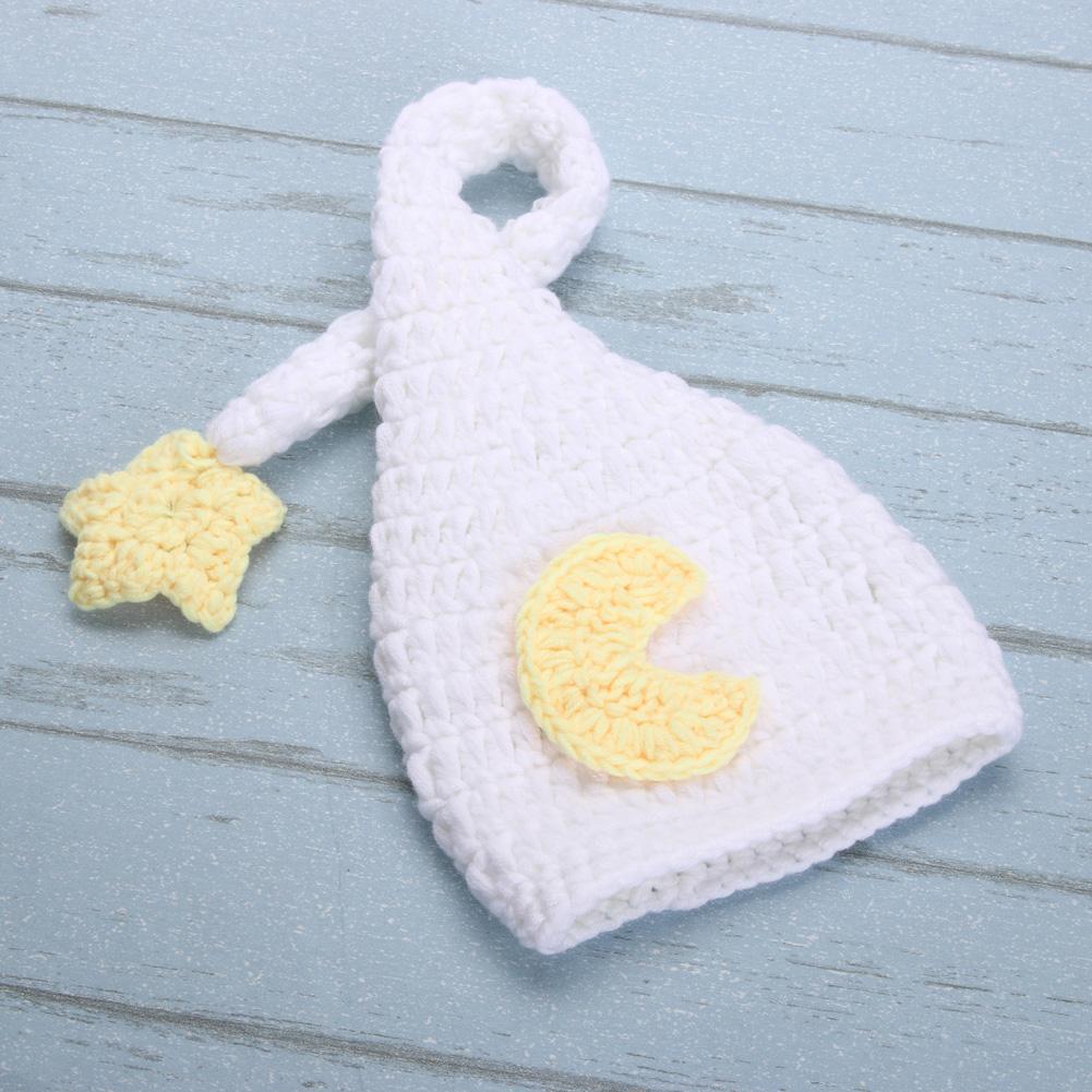 New Adorável Bebê Feitos À Mão Gorros Chapéu Recém-nascidos Crochet Branco Traje de Malha Longa Cauda Chapéu Bonés Newborn Fotografia Adereços Cap 0-4 M
