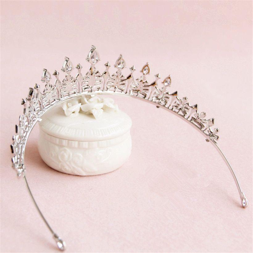 Accesorios de boda nupcial tiara de plata corona de la reina pelo de la venda de la princesa joyería partido del desfile elegante de las mujeres Prom headwear Band