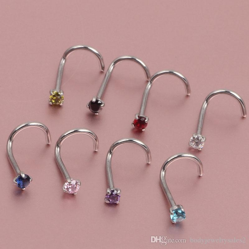 20g Nose Ring Prong Set Cz Stud Screw Gold Silver Clear Black Blue Red Tanzanite Nody Jewelry Nose Piercing