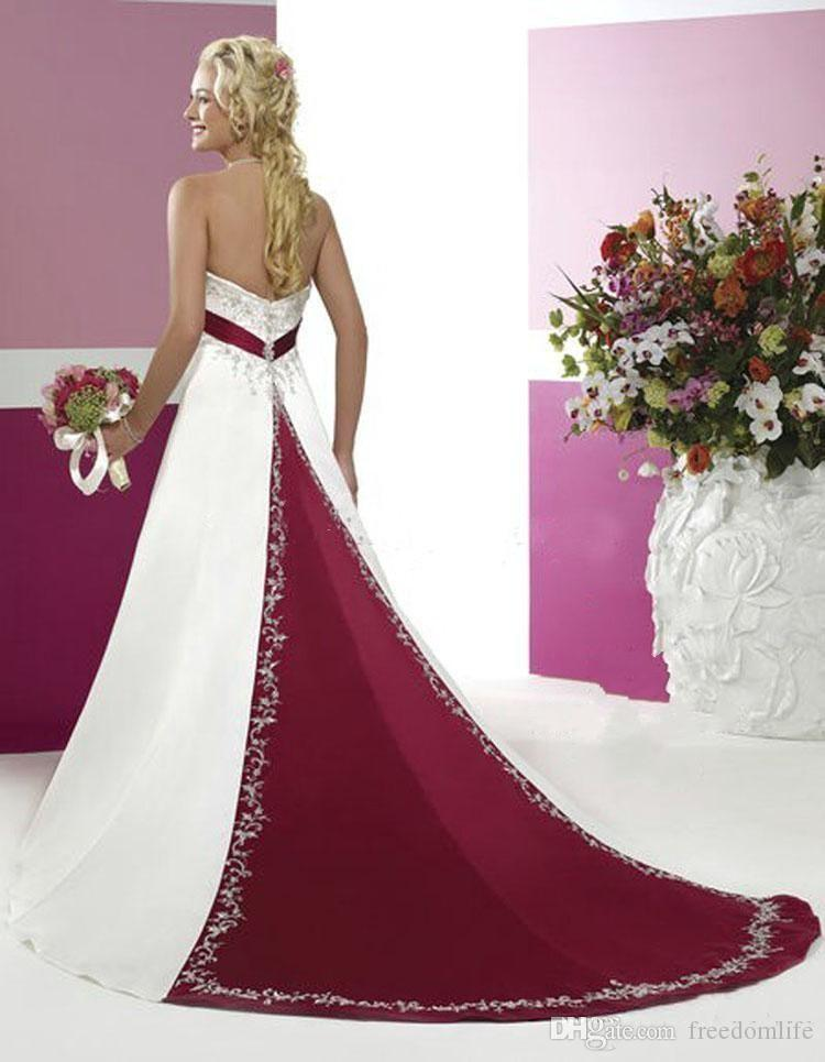 Blanc et rouge mariage Robes modestes 2020 Robes de mariée bustier avec bretelles broderie perlée A Pays ligne robes de mariée