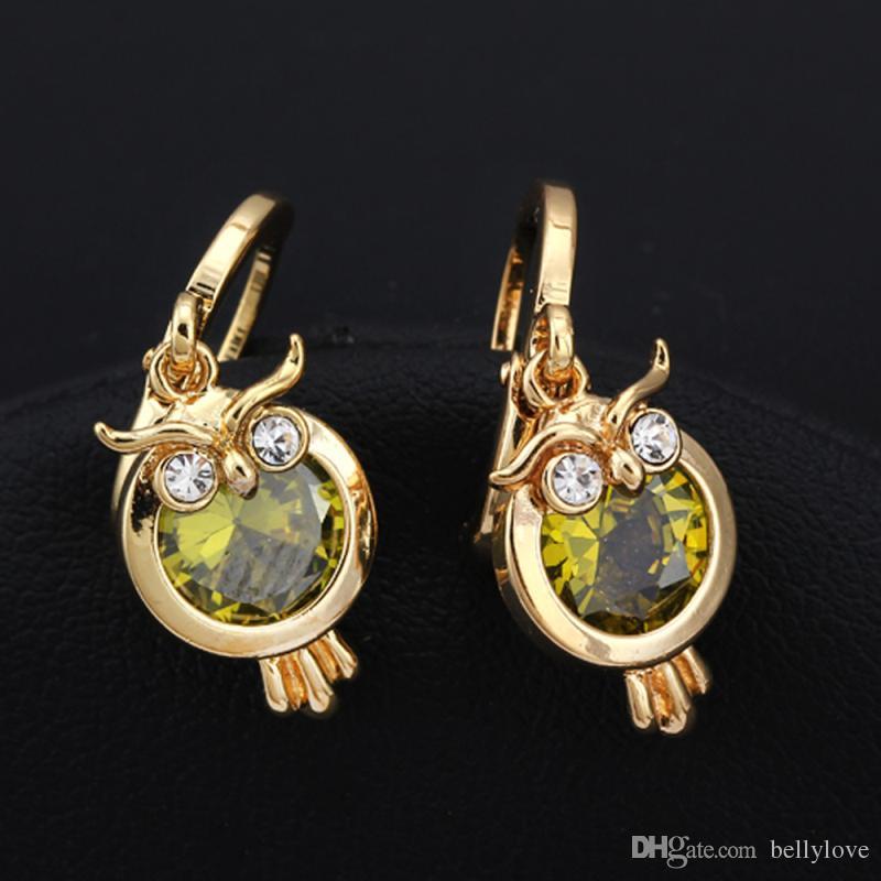 Cute Animal Jewelry Cubic Zirconia CZ 18K Yellow Gold Plated Owl Drop Earrings for Women Best Gift