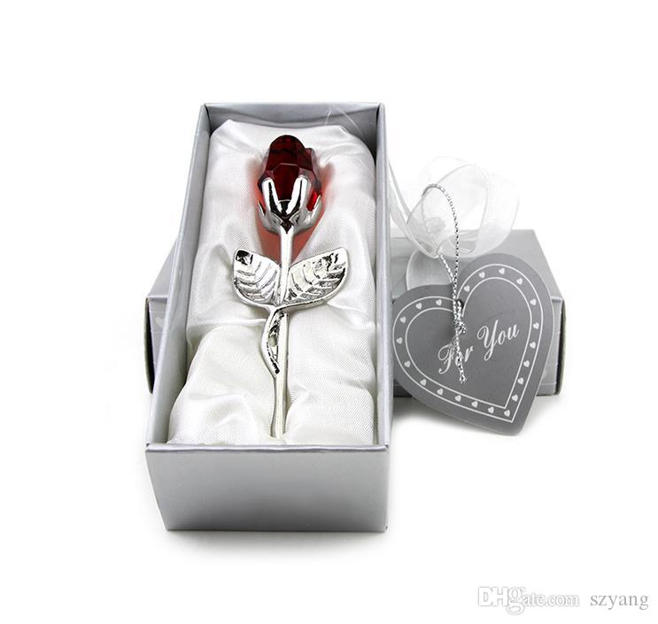 100 unids / lote favores de la ducha Nupcial Elección Crystal Long Stemmed Rose Wedding Party regalo regalo Souvenir para Invitado + ENVÍO GRATIS