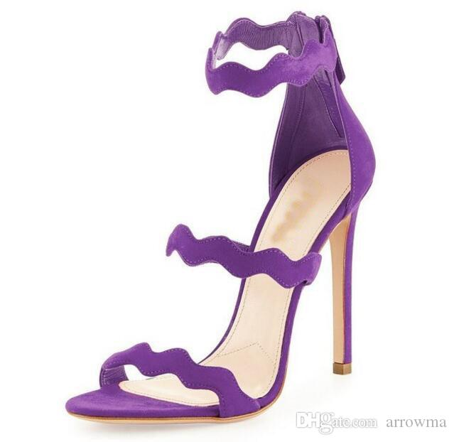 2016 Bridal Wedding Shoes Summer Sandals High Thin Heels Plus Size US4-US15 Women Party Evening Shoes Sexy Sandals Purple Wedding Shoes