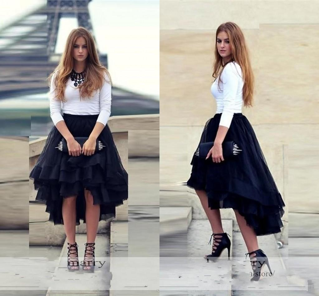 Unique Navy Blue High Low Short Tutu Skirt For Women Flouncing Ruffles Multiple Layers Street Formal Party Adult Tulle Cheap White Dresses