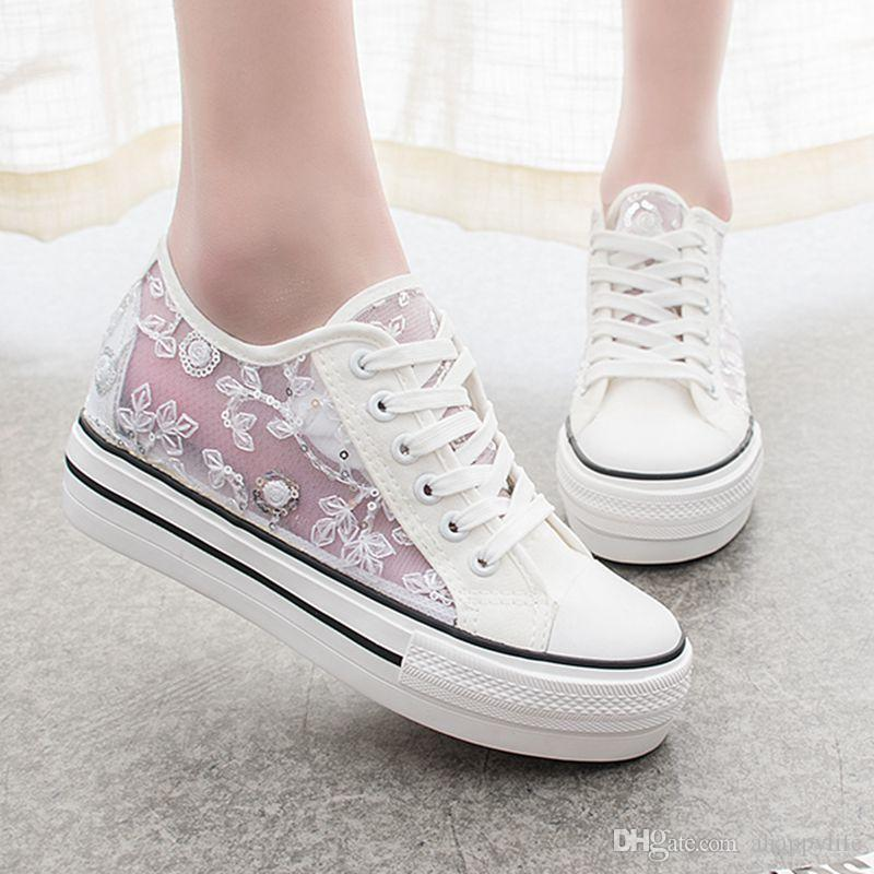 05d75d07075 Beautiful Summer Girls Korean Canvas Shoes Increased All Match Flat Wind  Ventilation Pointed White Shoe Cloth