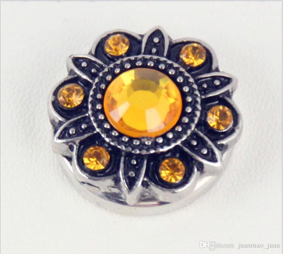 20mm noosa pedaços botão cor antiga diamante botão de colar de flores snap botão de metal diy personalidade charme pulseiras acessórios