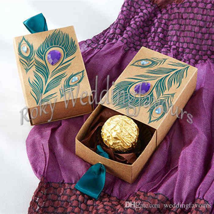 Party Favor Ideas For Wedding Reception: Jeweled Peacock Kraft Favor Boxes Candy Filler Party