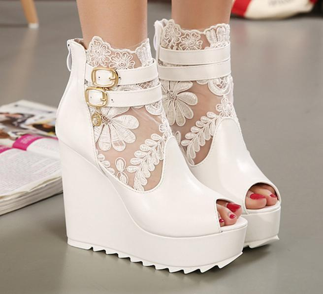 New White Lace Wedding Boots Silver Bridal Pumps Wedge