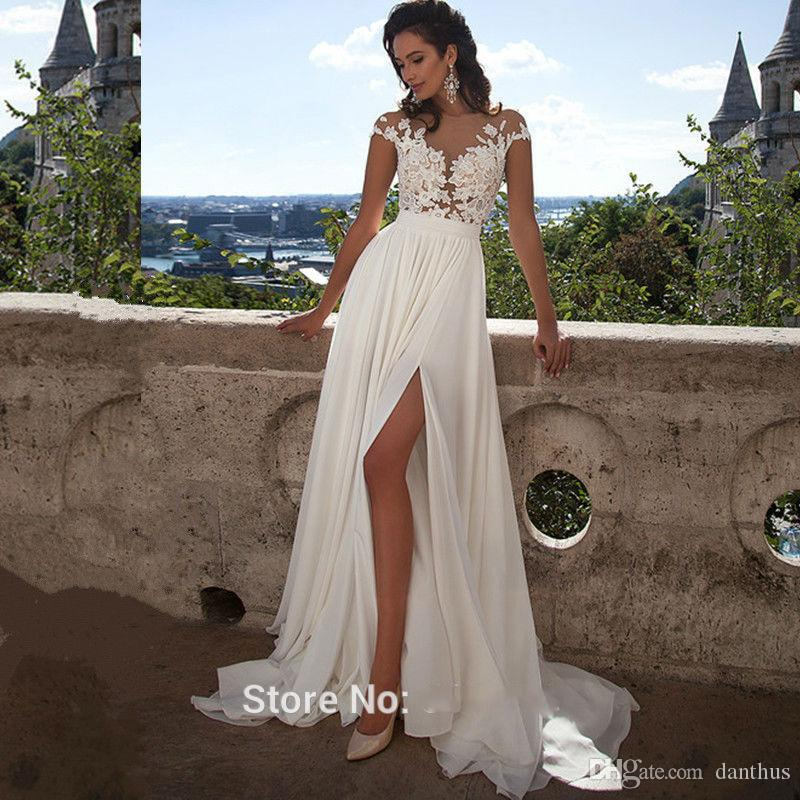 Discount 2016 sexy illusion cap sleeves lace top chiffon a line discount 2016 sexy illusion cap sleeves lace top chiffon a line bridal gowns tulle lace applique split summer beach wedding dress with buttons simple junglespirit Images