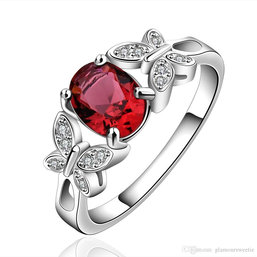 2019 Double Butterfly Style Ruby Red & Champagne Zircon