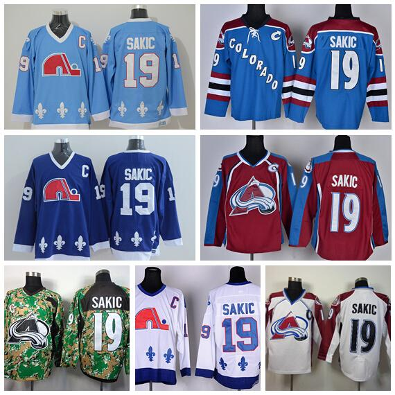 ado Avalanche 19 Joe Sakic Jersey Quebec Nordiques Ice Hockey Jerseys Navy  Blue Red White Camo Embroidery And Sewing Logo From Top_sport_mall, ...