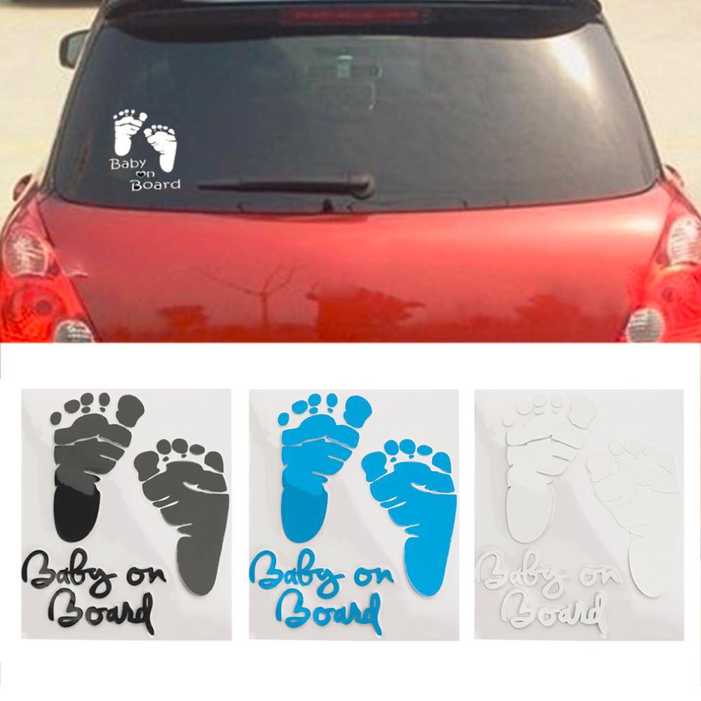Отражательная наклейка автомобиля прекрасное письмо ребенка на борту детские следы наклейки авто безопасности предупреждение окна наклейки черный белый
