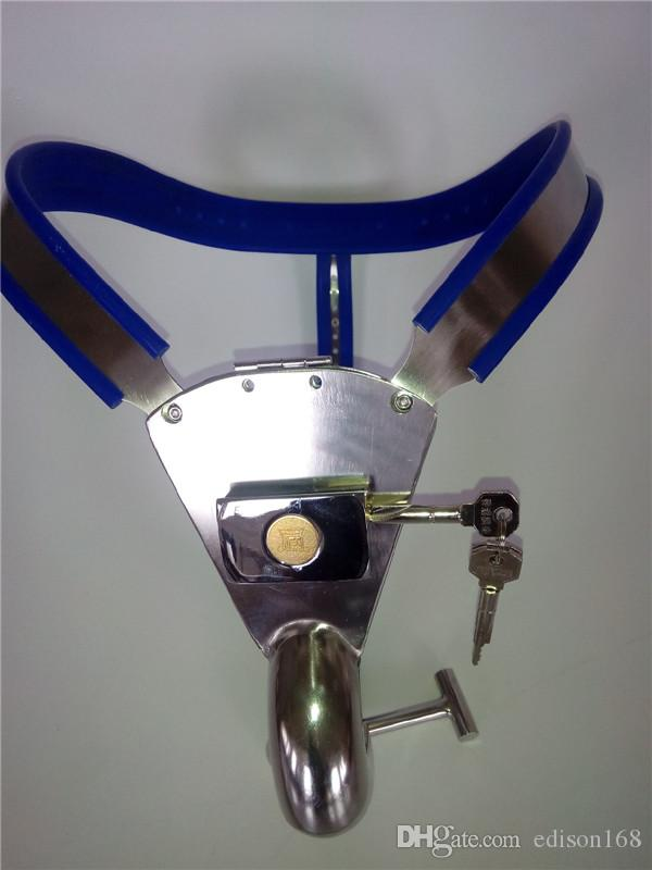 New Male Y3 Plus Adjustable Stainless Steel Chastity Belt With Anal Plug winding Cock Penis Cage with urinate hole BDSM Sex Toy