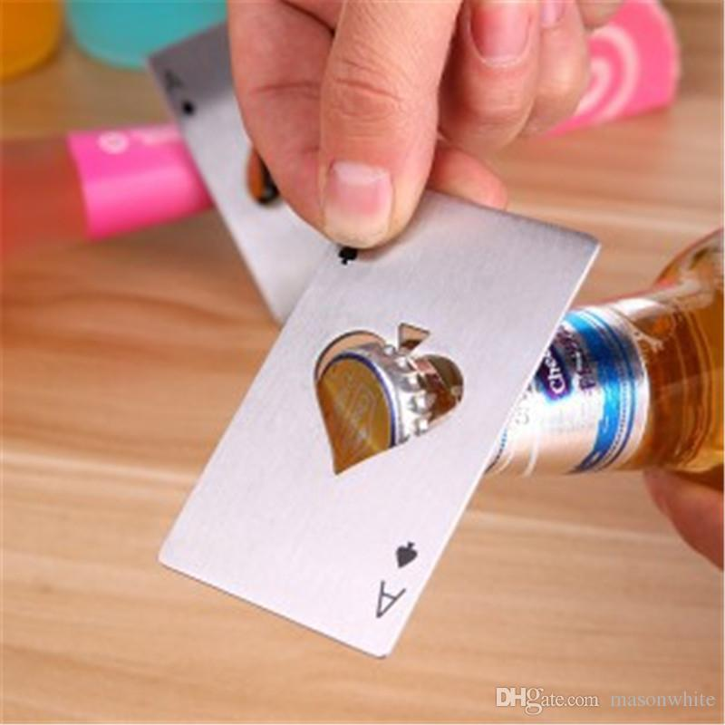 Poker Bottle Opener Card Stainless Steel Thick Never Out of Shape Cool Styles Design Bar Tools Soda Beer Bootle Cap Opener Wedding Party
