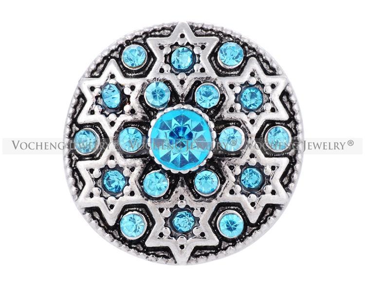 VOCHENG Нуса металла Оснастки инкрустированные Кристалл гексаграмма 2 цвета 18 мм кнопка ювелирные изделия Vn-1305