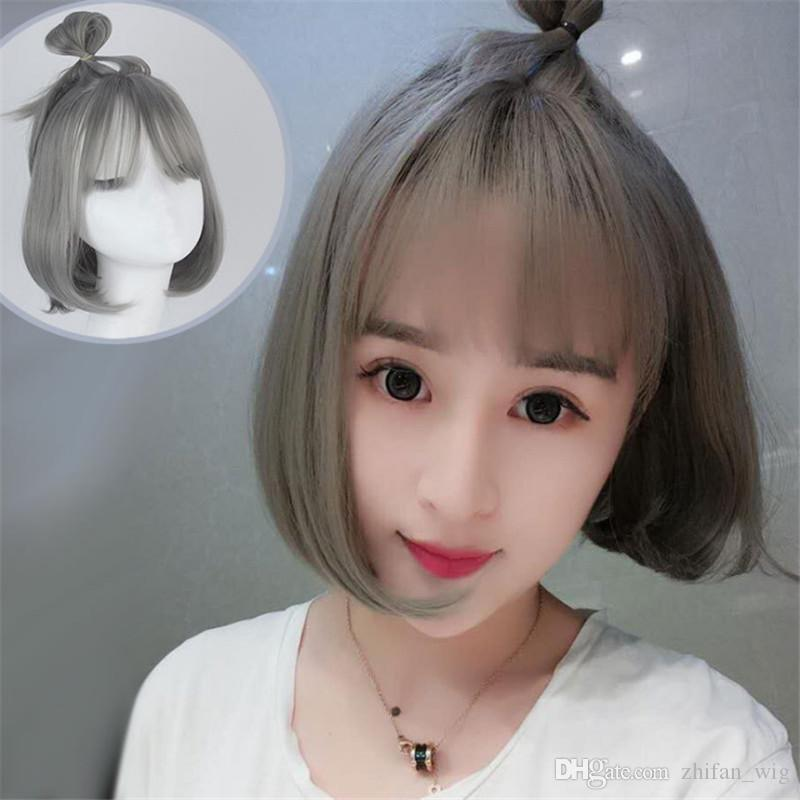ZF Harajuku Style Granny Hair Wig Grey Color Lolita Korean Wigs Short 30cm Bobo See Through Bangs Pear Flower Roll For Women From