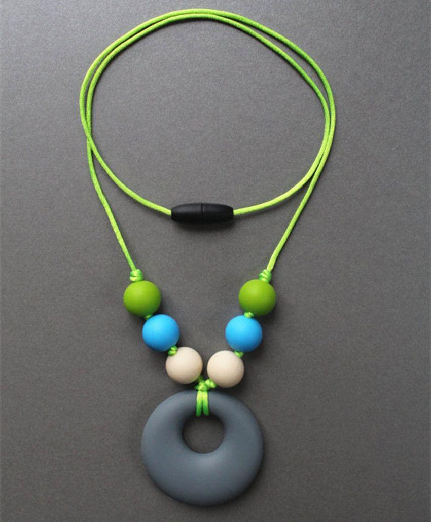 New FDA Silicone Teething Pendant Nursing Chewelry Necklaces Kids & Baby Wearing Breastfeeding Chew Beads Chewable Teething Necklace Beads