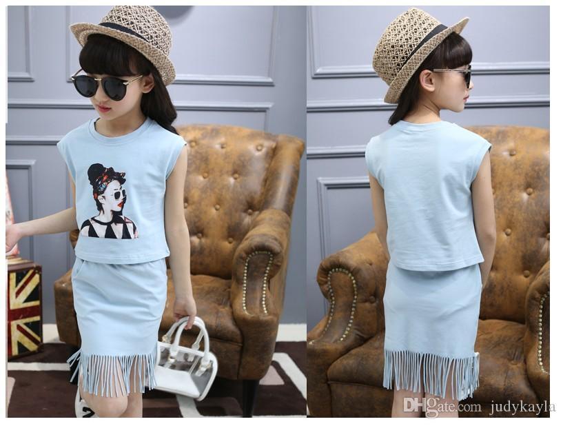 Lady Stil Büyük Kızlar 2016 Yaz Giyim Setleri Çocuk T-shirt Tops + Püsküller Etek 2 adet Set Çocuklar Kıyafetler Moda Kız Giysileri Suits
