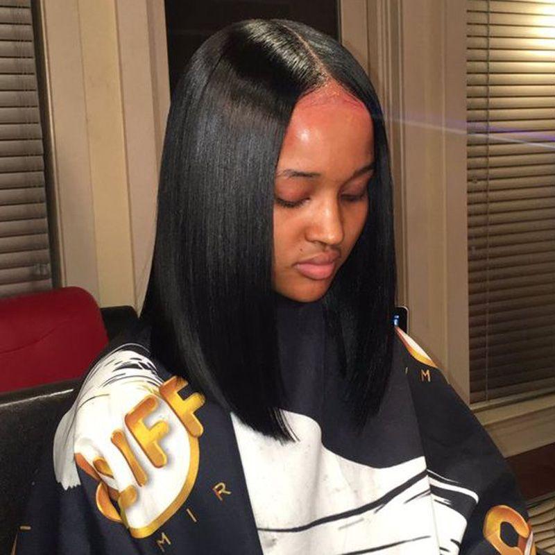 Blunt Cut Weave Cap: Human Hair Wigs Brazilian Virgin Hair Lace Front Wigs For