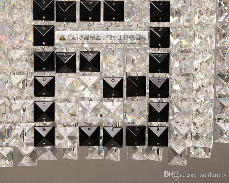 F Mark Rectanglar Kristall Kronleuchter für Esszimmer Küche Café Bar Licht moderne LED Anhänger Kronleuchter Hotel Kristall Kandelaber