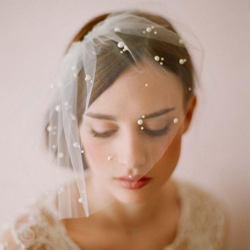 Twigs Honey Vintage Birdcage Wedding Veils Blusher Hair Pieces Pearls One Layer Short Bridal Headpieces V0001 Designer Veil