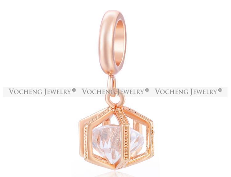 VOCHENG Endless Charms Incrusté Clair CZ Stone 3 Couleurs Pas Fade En Laiton Matériel Interchangeable Dangle Jewelry VC-150