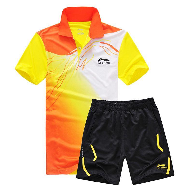 Yeni Li Ning spor serisi wicking nefes giyim badminton erkek t-shirt masa tenisi giysi takım elbise gömlek + şort