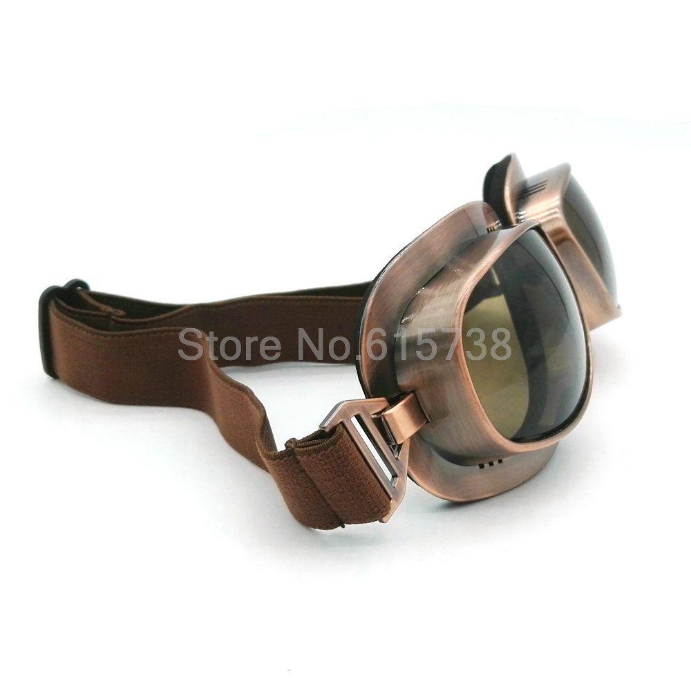 Vintage Harley Open Face Glass Retro Jet Helmet Goggles Copper Plated Frame