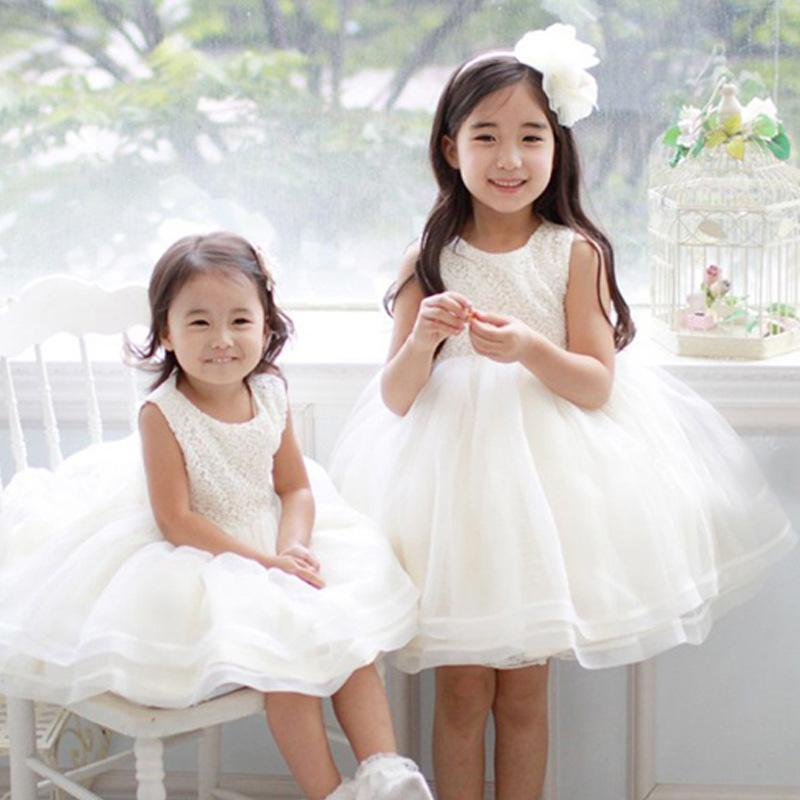 Children boutique lace dress sleeveless baby girl lace dresses princess girl's bubble skirt kids white color party clothes wedding dress