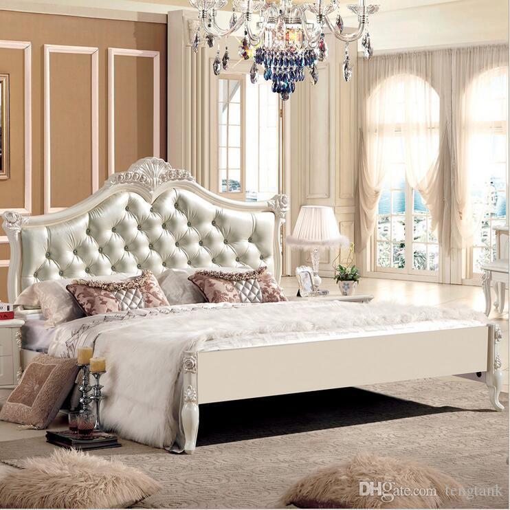 Shop Bedroom Furniture Online, Factory Price King Size Leather Modern  European Solid Wood Bed Fashion Carved 1.8 M Bed French Bedroom Furniture  10035 With ...